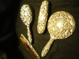 Frisierset-4 Teilig Silber Gestempelt Um 1910 - Argenterie