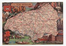- CPSM CARTES GÉOGRAPHIQUES - Département N° 76 SEINE-INFÉRIEURE - Editions BLONDEL LA ROUGERY 1946 - - Landkarten