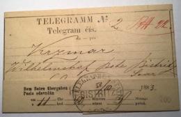 """Österreich """"BISTRITZ"""" 1883(RUMÄNIEN SIEBENBÜRGEN ) Telegramm (Brief Austria Telegraph Cover Romania - Briefe U. Dokumente"""