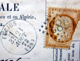 LOSANGE GROS CHIFFRE 583 SUR NAPOLEON ET CACHET ROND FREJUS 1873 SUR CARTE INCOMPLET  2 SCAN - Marcophilie (Lettres)