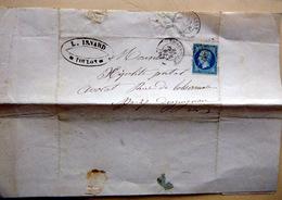 LOSANGE PETIT CHIFFRE  SUR NAPOLEON ET CACHET ROND TOULON 1862 SUR LETTRE 2 SCAN - 1849-1876: Période Classique