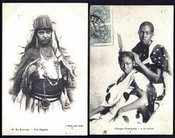 JL DIV- LOT 2 CPA ANCIENNES AFRIQUE- JEUNE FEMME KABYLE  ET FEMMES CONGOLAISES A LA TOILETTE- GROS PLAN - Afrique