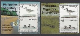 1999 Philippines Migratory Shore Birds Ducks Complete Set Of 2  Souvenir Sheets MNH - Birds