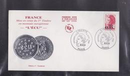 ENVELOPPE 1er JOUR  Du Timbre LIBERTE ECU à PARIS , 16 Avril 1988 - Autres Collections