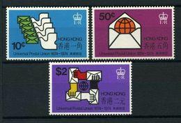 HONG KONG,  1974 UPU Centenary 3v  MNH - Hong Kong (...-1997)