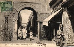 TUNISIE - TUNIS PORTE ET SOUK EL BEY - Tunisia