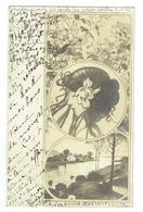 CPA Art Déco - Postcard - Portrait En Médaillon Type Mucha - 1906 - Illustrateurs & Photographes