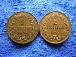 ITALY 2 CENTESIMI 1897 KM30, 1903 KM38 - 1861-1946 : Royaume