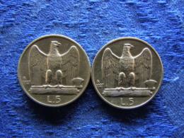 ITALY 5 LIRA 1927 KM67.1, 1927 KM67.2 - 1861-1946 : Royaume