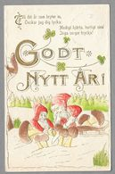 Gnomes Cutting Off Mushrooms Lutin Champignon Zwerg Pilze Relief Embossed Nouvelle Année Neues Jahr -used 1911 In Sweden - Nouvel An