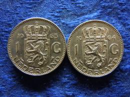 NETHERLANDS 1 GULDEN 1963, 1964, KM184 - [ 3] 1815-… : Royaume Des Pays-Bas