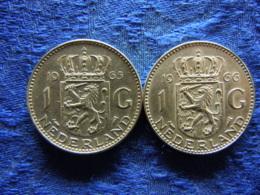 NETHERLANDS 1 GULDEN 1965, 1966, KM184 - [ 3] 1815-… : Royaume Des Pays-Bas