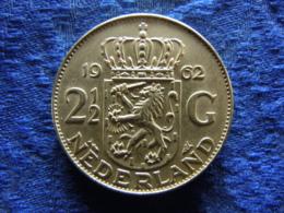 NETHERLANDS 2,5 GULDEN 1962 POS. B, KM185 - [ 3] 1815-… : Royaume Des Pays-Bas