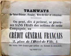 PROSPECTUS DE VENTE D'ACTIONS DES TRAMWAYS SAINT ETIENNE FIRMINY RIVE DE GIER VERS 1880 - Andere