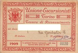 """0880 """"TORINO - UNIONE ESCURSIONISTI - TESSERA DI RICONOSCIMENTO DEL 1909""""  ORIGINALE - Sport Invernali"""