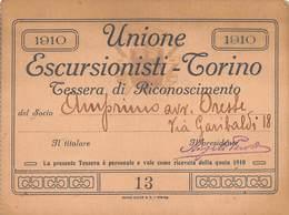 """0881 """"TORINO - UNIONE ESCURSIONISTI - TESSERA DI RICONOSCIMENTO DEL 1910""""  ORIGINALE - Sport Invernali"""
