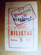 Old Transport Ticket From Lithuania Vilnius City 1988 Bus Trolley August - Season Ticket