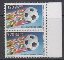 Andorra Fr. 1994 World Cup Footballl 1v (pair, Corner) ** Mnh (42041A) - Frans-Andorra