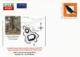 NORFOLK - 2001 - Entier Postal Neuf - Oiseau (étourneau) - Arbre (figuier De La Baie De Moreton) - Cook - Ile Norfolk