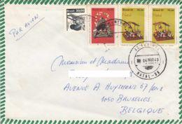 BRESIL - 1983 - Lettre Par Avion Pour La Belgique - Noël -  Sériciculture (ver à Soie) - Brésil