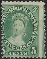 NEW BRUNSWICK 1860 Queen Victoria - 5c - Green MH - Unused Stamps