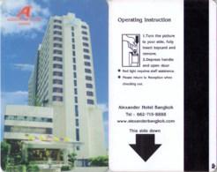 Alexander Bangkok  -  Thailand ---Hotel Room Key Card, Hotelkarte, Clef De Hotel--- - Hotel Keycards