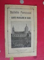Bulletin Paroissial De Sainte-Madeleine De Segré. éditions De L'ouest Mai 1939. Anjou Angers - Pays De Loire