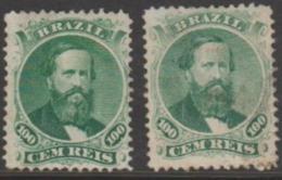 BRAZIL - 1866 100r Dom Pedro, Dies I And II. Scott 58, 58a. Mint * - Ongebruikt