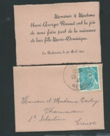 Enveloppe Format Mignonette Avis De Naissance  De Marie-Dominique Renaud Le 22/04/1943 La Souterraine   - BB16008 - Nacimiento & Bautizo