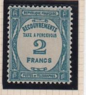 TAXE  RECOUVREMENT -  1927 / 31  - Taxe à Percevoir  N° 61 **,  2 F.  Bleu .. - Taxes