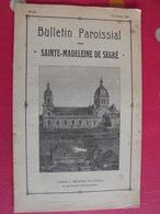 Bulletin Paroissial De Sainte-Madeleine De Segré. N° 55 Octobre 1937. Angers URSS épuration - Pays De Loire