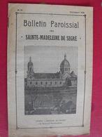 Bulletin Paroissial De Sainte-Madeleine De Segré. N° 60 Septembre 1938. Angers Persécutions Allemagne - Pays De Loire