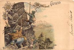 """0884 """"(AO) VALTOURNANCHE - LE DIFFICOLTA' DELLA SCALATA............GRUSS-SALUTI - UMORISTICA""""  CART SPED 1903 - Humour"""