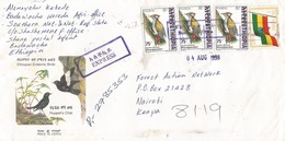 Ethiopia 1998 Shone Flag Woodpecker Registered Express Cover To Kenya - Ethiopië