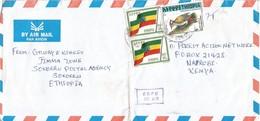 Ethiopia 1999 Sokurru Flag Woodpecker Cover To Kenya - Ethiopië