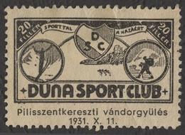 SKI JUMP / Mountaineering - 1936 Hungary / Danube Duna Sport Club - USED Label / Vignette / Cinderella - PHOTO Contest - Ski