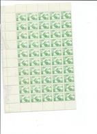 N° 630 Coq 10 Centimes Vert Jaune -feuille Complète De 100  Timbres - Feuilles Complètes