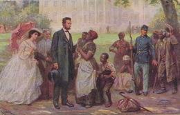 Abraham Lincoln And The Contrabands Black People . Slavery. Embossed. Contrebandiers Noirs . Gaufrée Signée - Politieke En Militaire Mannen
