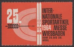 Archer Archery SKI / Sport Exhibition Fair / LABEL CINDERELLA VIGNETTE 1964 Germany Wiesbaden - Tiro Al Arco