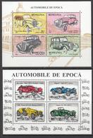 1996 Romania Automobiles Benz Rolls Jaguar Complete Set Of 2 Souvenir Sheets  MNH - Voitures