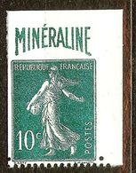 RARE SEMEUSE N°188A 10c Vert MINERALINE NEUF(*) & NON DENTELE Coté +500€ (REPRO) - 1906-38 Sower - Cameo