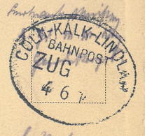 Postkarte Mit Bahnpost-Stempel 'CÖLN-KALK-LINDLAU' ~ 1916 - Briefe U. Dokumente