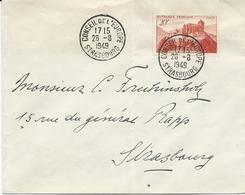 LETTRE 1949 AVEC TIMBRE SAINT BERTRAND DE COMMINGES OBLITERE CONSEIL DE L'EUROPE STRASBOURG - Dienstpost