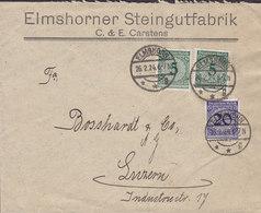 Germany Deutsches Reich ELMSHORNER STEINGUTFABRIK C. & E. Carstens, ELMSHORN 1924 Cover Brief LUZERN Switzerland - Lettres & Documents