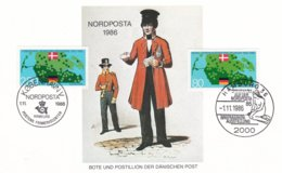 Nordposta 1986 In Hamburg - Card Franked With Danish And German Stamp (C123) - Expositions Philatéliques