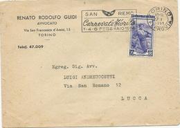 LETTRE D'ITALIE 1951 AVEC OBLITERATION MECANIQUE SAN REMO CARNEVALE FIORITO - Carnival