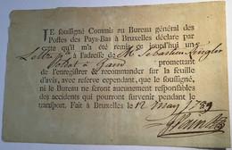 """Recus Lettre Recommandée """"POSTES DES PAYS BAS Á BRUXELLES"""" 1789 > Militaire Gand (Netherlands Cover Belgique Postschein - 1714-1794 (Austrian Netherlands)"""