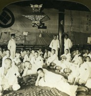 Japon Hiroshima Convalescents De Port Arthur? Ancienne Photo Stereo White 1900 - Stereoscopic