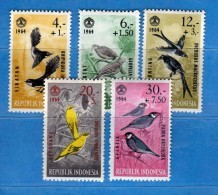 Indonesia *- 1965 - Oiseaux . Yvert.  398 à 402  MH    Vedi Descrizione - Indonesia