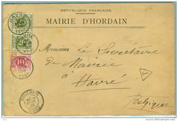 Pli Mairie De Hordain (Nord) - Obl. Bouchain Vers Belgique - Taxé - Lettres & Documents